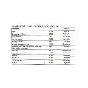 ingredientes de la mascarilla cicatrifios de inoar