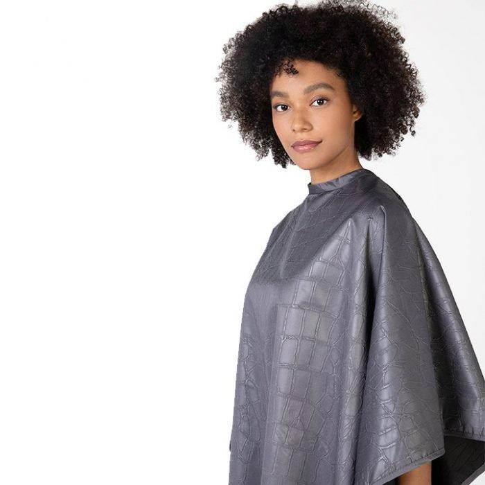 capa de peluqueria gris