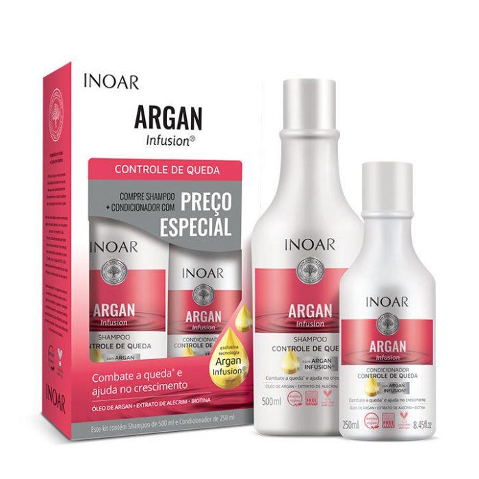 kit inoar argan infusion champú y acondicionador anticaída